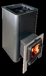 Печь для бани Конвектика Олимп Carbon 26 с парогенератором и чуг.дверцей со стеклом антрацит - фото 5318