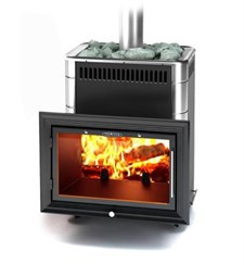 Печь для бани ТМФ Витрувия Carbon антрацит с т/обменником нерж.вставки - фото 5399