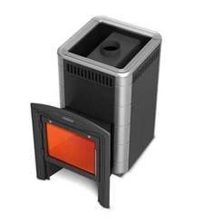 Печь для бани ТМФ Карасук Carbon Витра антрацит нерж. вставки - фото 5431