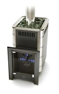 Печь для бани газовая ТМФ Уренгой антрацит нерж.вставки - фото 5486