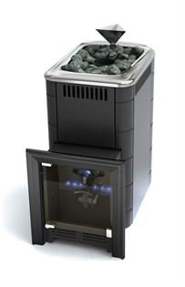Печь для бани газовая ТМФ Таймыр Inox закрытая каменка антрацит (без ГГУ) - фото 5487