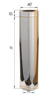 Дымоход Феррум утепленный нержавеющий (430/0,5мм)/зеркальный нержавеющий ф115/200 L=1м по воде - фото 5570