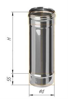 Дымоход Феррум нержавеющий (430/0,8 мм) ф150 L=0,5м - фото 5678