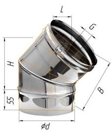 Колено Феррум угол 135°, нержавеющее (430/0,5 мм), ф150 - фото 5707