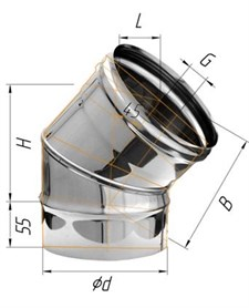 Колено Феррум угол 135°, нержавеющее (430/0,8мм), ф120 - фото 5740