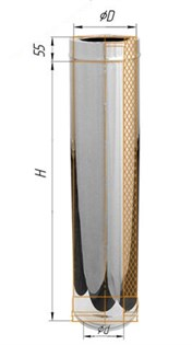 Дымоход Феррум утепленный нержавеющий (430/0,8мм)/зеркальный нержавеющий ф200/280 L=1м по воде - фото 5851