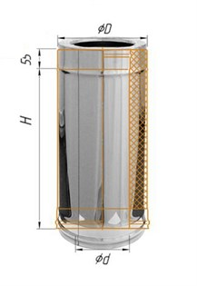 Дымоход Феррум утепленный нержавеющий (430/0,5мм)/оцинкованный ф200/280 L=0,5м по воде - фото 5874