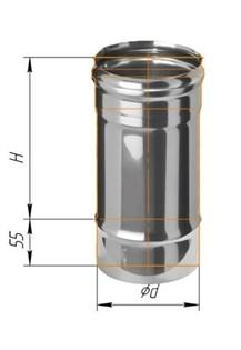 Дымоход Феррум нержавеющий (430/0,8 мм) ф150 L=0,25м - фото 5877