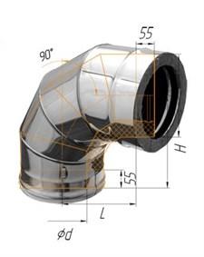 Колено Феррум утепленное угол 90° нержавеющее (430/0,5мм)/зеркальное, ф120/200, по воде - фото 5929