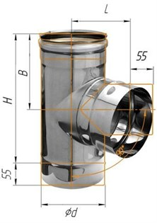 Тройник Феррум угол 90°, нержавеющий (430/0,8мм), ф115, по дыму - фото 6020