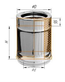 Дымоход Феррум утепленный нержавеющий (430/0,5мм)/зеркальный нержавеющий ф120/200 L=0,25м по воде - фото 6061