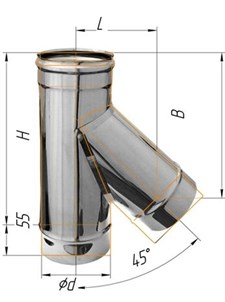 Тройник Феррум угол 135°, нержавеющий (430/0,8мм), ф150, по воде - фото 6074