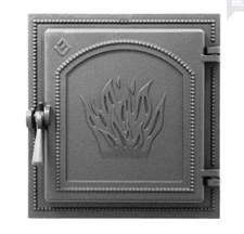 Дверца Везувий чугунная каминная, (271), 350x320 мм, антрацит - фото 6131