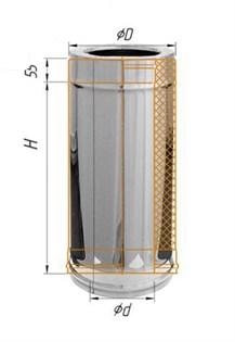 Дымоход Феррум утепленный нержавеющий (430/0,5мм)/зеркальный нержавеющий ф200/280 L=0,5м по воде - фото 6151