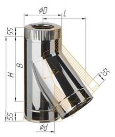 Тройник Феррум утепленный угол 135° нержавеющий (430/0,5мм)/оцинкованный, ф200/280, по воде - фото 6224