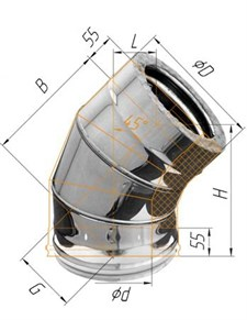 Колено Феррум утепленное угол 135° нержавеющее (430/0,5мм)/зеркальное, ф200/280, по воде - фото 6225