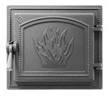 Дверца Везувий чугунная каминная, (261), 280х250 мм, антрацит - фото 6253