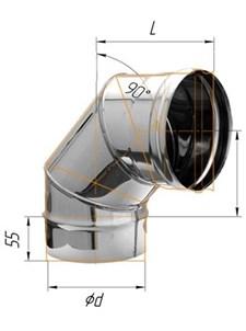 Колено Феррум угол 90°, нержавеющее (430/0,5мм), ф130 - фото 6261
