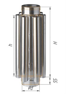 Дымоход-конвектор Феррум нержавеющий (430/0,8мм) ф120 L=0,5м - фото 6360