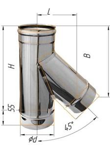 Тройник Феррум угол 135°, нержавеющий (430/0,8мм), ф200, по воде - фото 6386