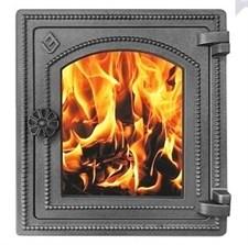Дверца Везувий чугунная печная, (ДТ-4С), стекло,320х290мм, антрацит - фото 6601