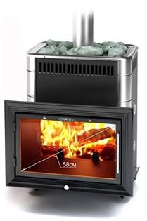 Печь для бани ТМФ Витрувия Inox т/обменник антрацит нерж.вставки - фото 6642
