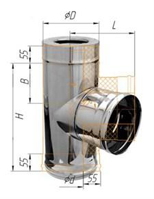Тройник Феррум утепленный угол 90° нержавеющий (430/0,8мм)/зеркальный, ф200/280 по воде - фото 6675