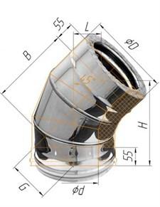 Колено Феррум утепленное угол 135° нержавеющее (430/0,5мм)/зеркальное, ф130/200, по воде - фото 7076