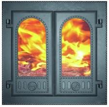 Дверца чугунная каминная двухстворчатая ДК-6С 500*500*102 мм, со стеклом, Рубцовск - фото 7251