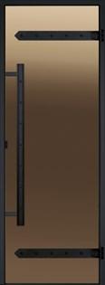 HARVIA Двери стеклянные LEGEND 8/19 черная коробка сосна, бронза  D81901ML - фото 8872