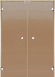 HARVIA Двери стеклянные, двойные 15/19 коробка ольха/осина, бронза - фото 9010
