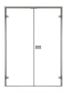 HARVIA Двери стеклянные, двойные 15/21 коробка ольха/осина, прозрачная - фото 9016