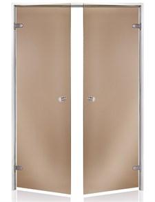 HARVIA Двери стеклянные, двойные 13/19 коробка алюминий, стекло бронза - фото 9023