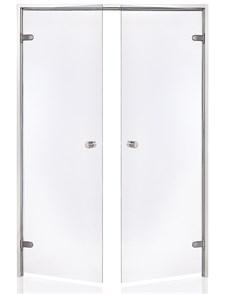 HARVIA Двери стеклянные, двойные 17/19 коробка алюминий, стекло прозрачное - фото 9032