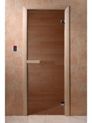 Дверь Бронза матовое 190*70, 6 мм, 2 петли, коробка хвоя. Банный Эксперт
