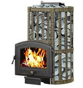 Печь для бани Везувий Ураган Ковка 22 (224) со стеклом закр каменка дровяная