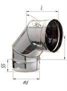 Колено Феррум угол 90°, нержавеющее (430/0,8мм), ф120