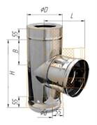 Тройник Феррум утепленный угол 90° нержавеющий (430/0,5мм)/зеркальный, ф120/200, по воде