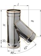 Тройник Феррум угол 135°, нержавеющий (439/0,8мм), ф120, по воде