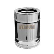 Дымоход Феррум утепленный нержавеющий (430/0,8мм)/зеркальный нержавеющий ф150/210 L=0,25м по воде